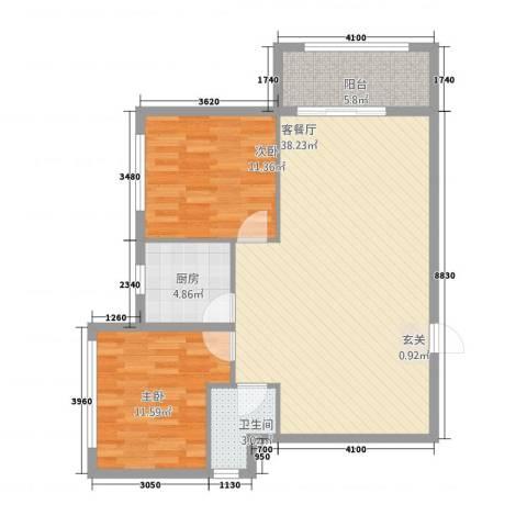 维纳阳光2室1厅1卫1厨74.86㎡户型图