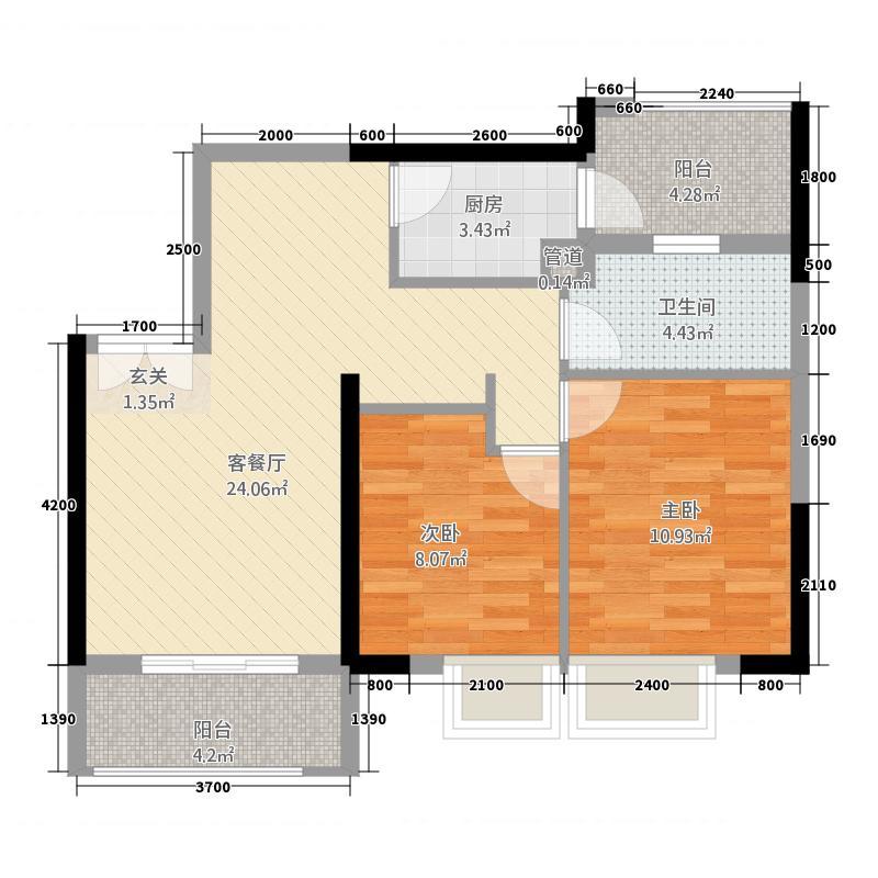 龙湖兆福苑81.20㎡7、8号楼4号房对称相同户型2室2厅1卫1厨