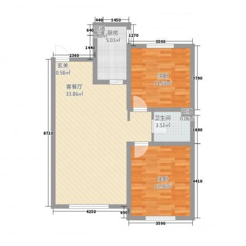 半山公馆2室1厅1卫1厨68.43㎡户型图