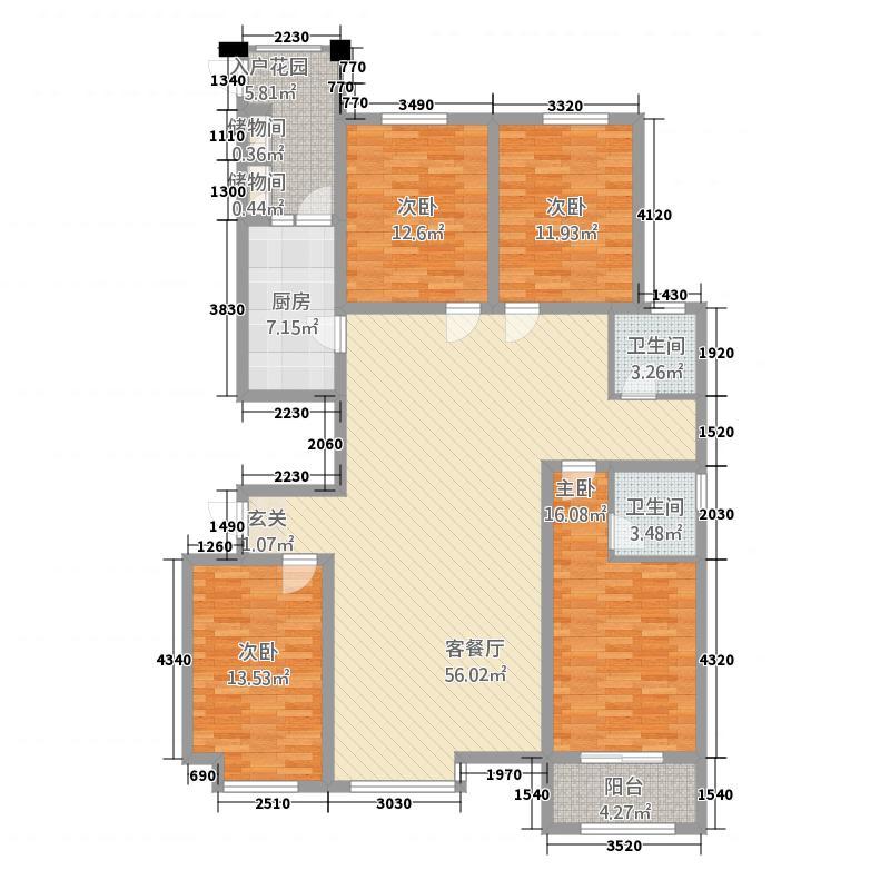 翠湖庄园11.00㎡E户型4室2厅2卫1厨