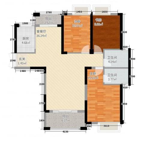 格林公馆3室1厅2卫1厨132.00㎡户型图