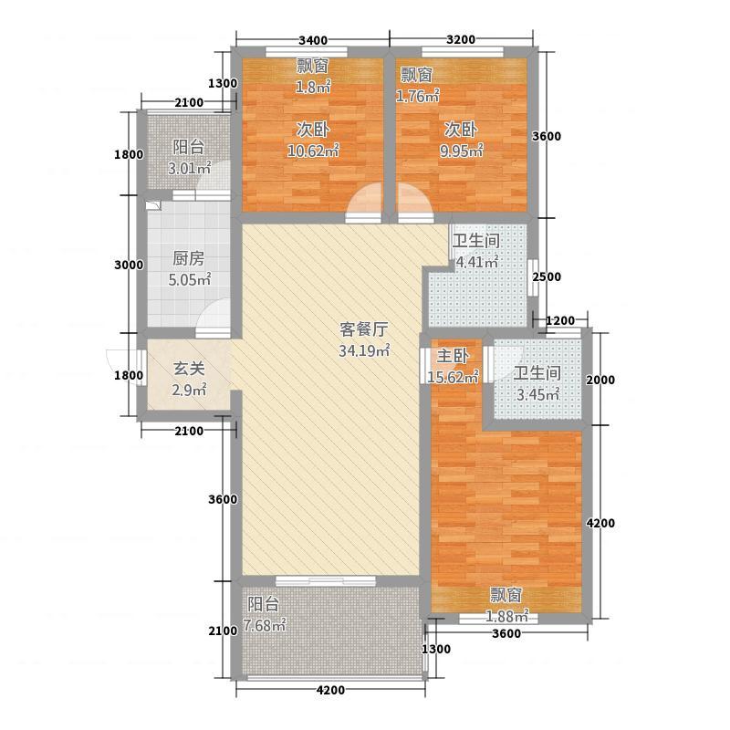 檀香山3室1厅2卫1厨135.00㎡户型图