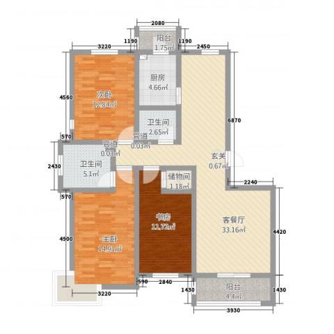 盘古新天地阳光花园3室1厅2卫1厨136.00㎡户型图