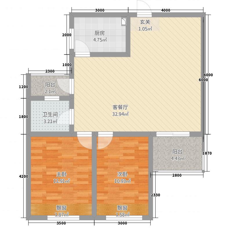 檀香山2室1厅1卫1厨102.00㎡户型图