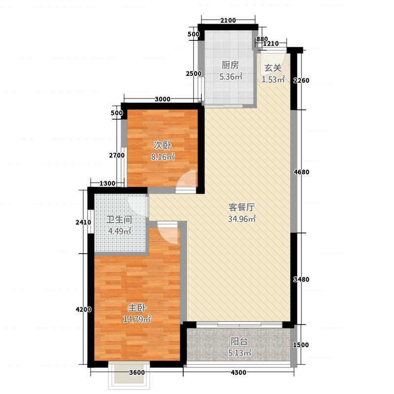 新外滩6.00㎡A1户型2室2厅1卫