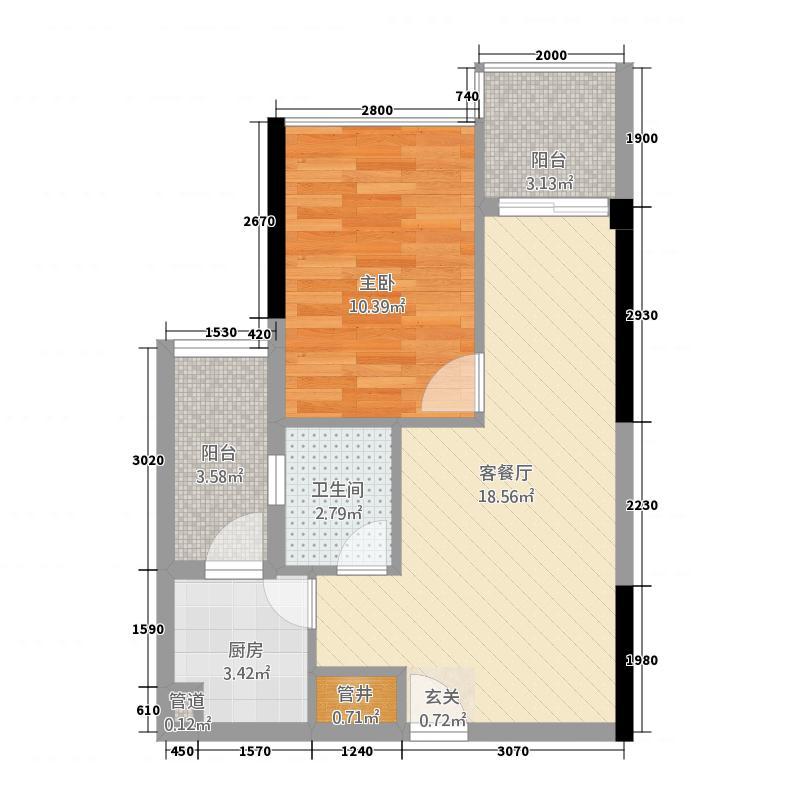 新龙岗商业中心6.00㎡户型2室
