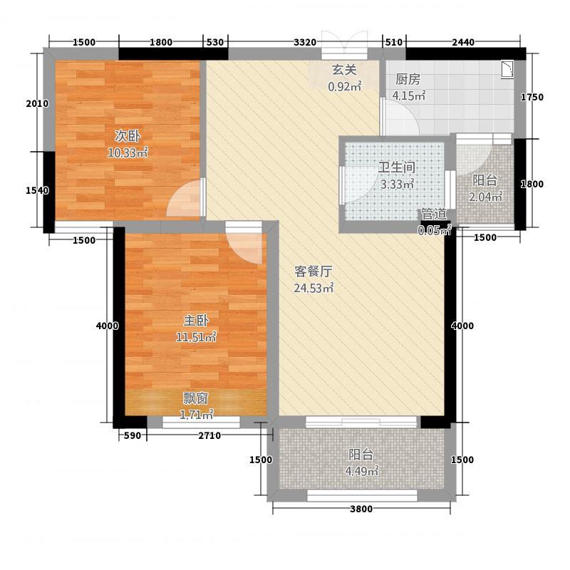 月星国际家居广场2.54㎡210X285单页-内页2户型2室2厅1卫1厨
