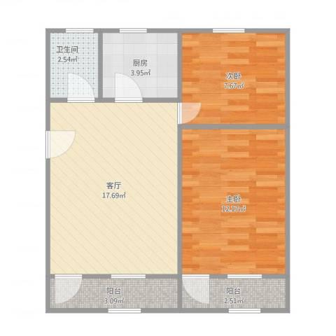 网通宿舍2室1厅1卫1厨68.00㎡户型图