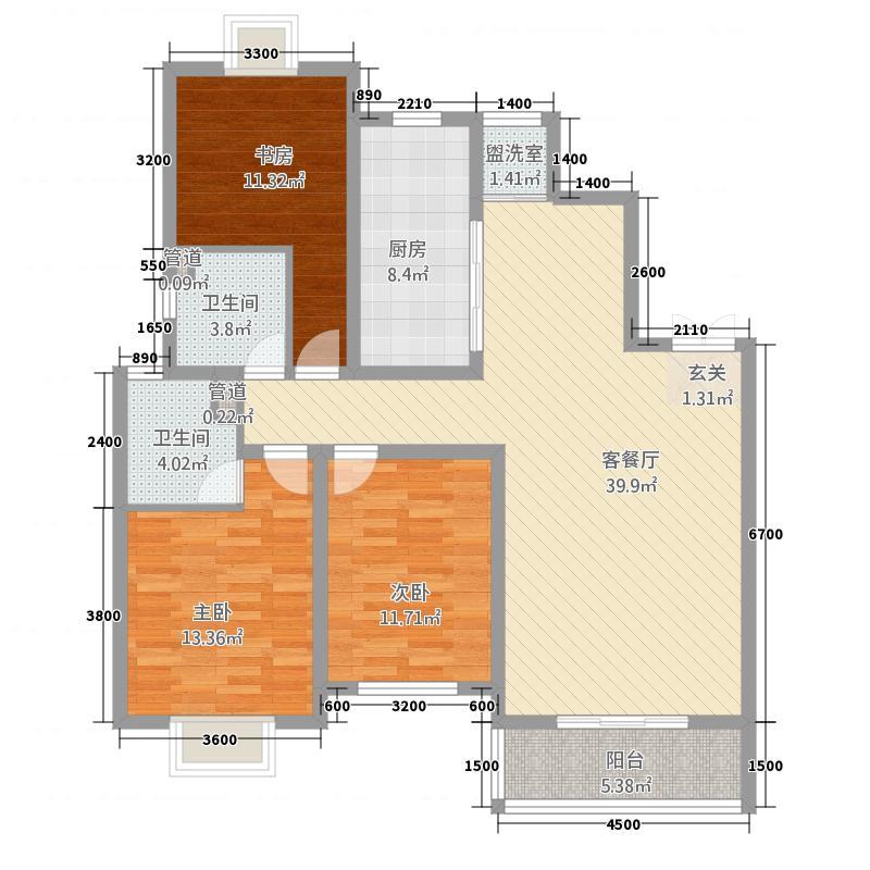 领域尚城138.84㎡8Q1户型3室2厅2卫1厨