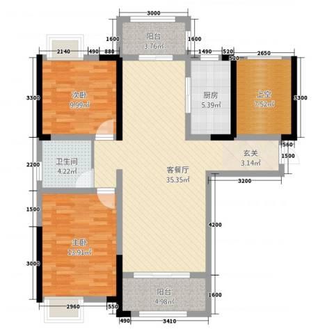 鼎盛鑫城2室1厅1卫1厨123.00㎡户型图
