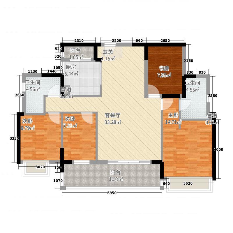 皇庭波西塔诺127.00㎡191栋户型4室2厅2卫1厨