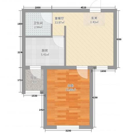 御泉苑新泉湾1室1厅1卫1厨52.00㎡户型图
