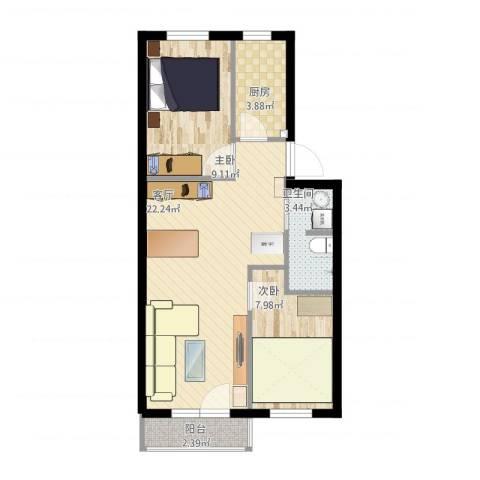 磨房北里2室1厅1卫1厨70.00㎡户型图