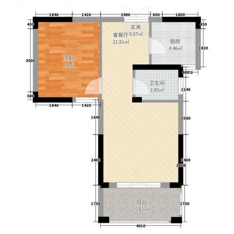 格林公馆1室1厅1卫1厨66.00㎡户型图