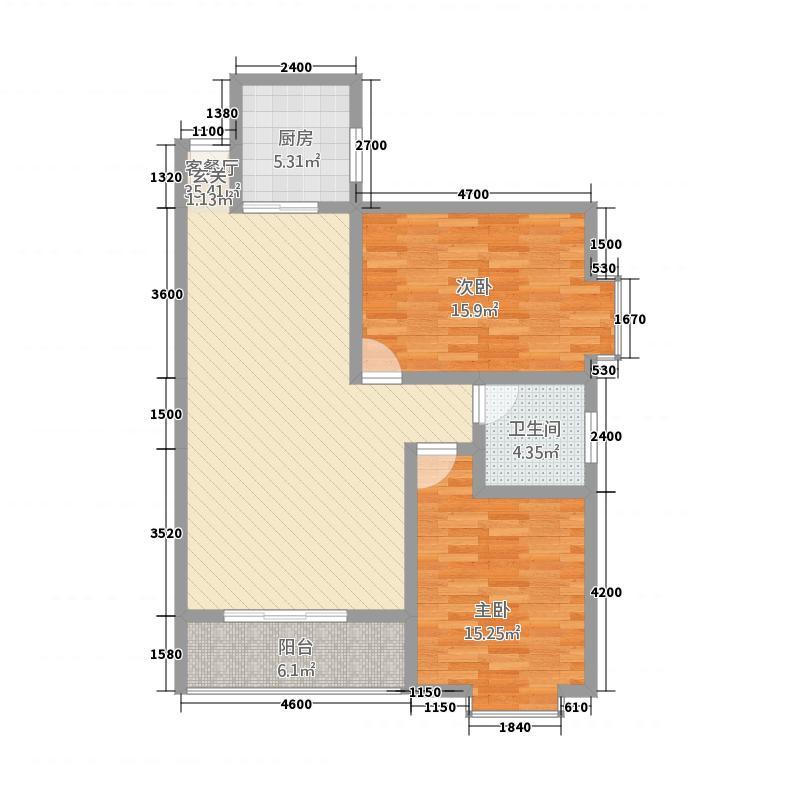 城市家园B区1.86㎡D户型2室2厅1卫1厨