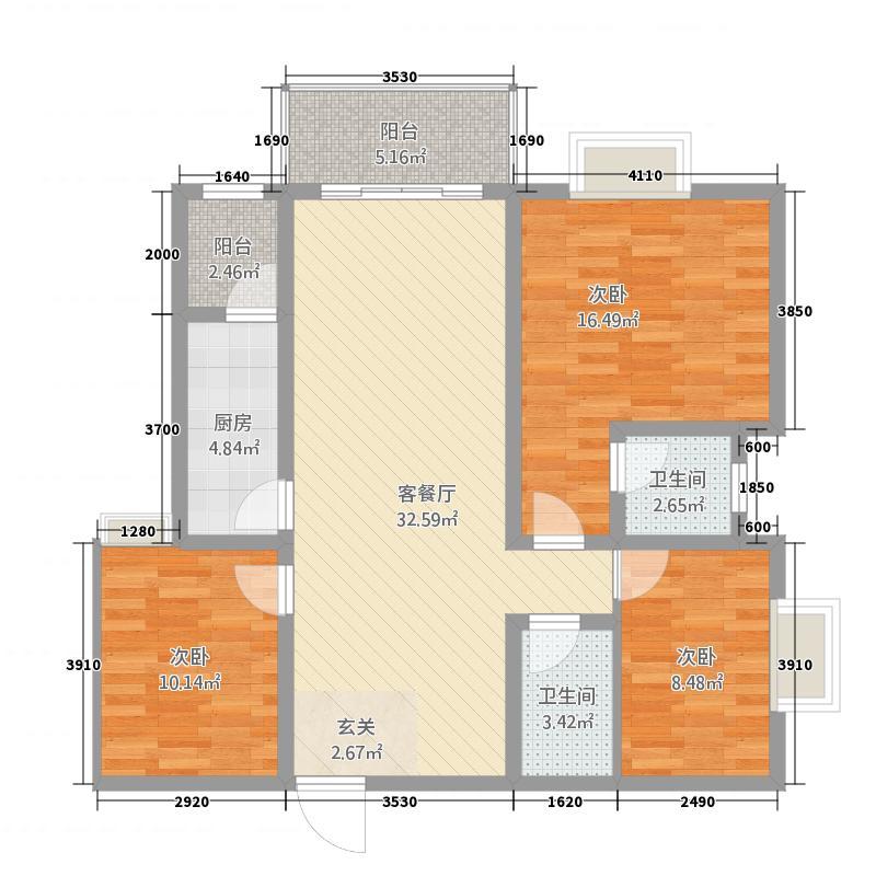 明悦・博悦锦都123.80㎡5号户型3室2厅2卫1厨