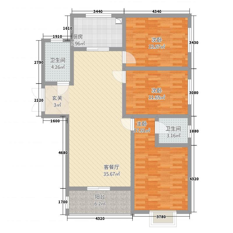 宜居・畅苑13.14㎡D户型3室2厅2卫