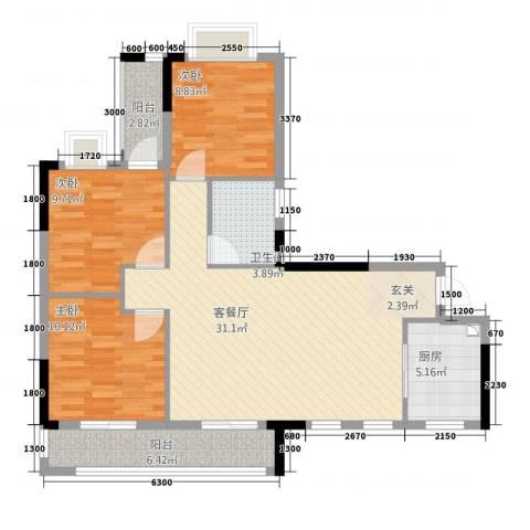 皇庭・御珑湾3室1厅1卫1厨215.00㎡户型图