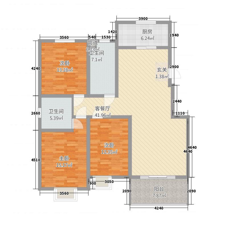 天元棠樾湖居137.66㎡A4标准层户型3室2厅2卫1厨