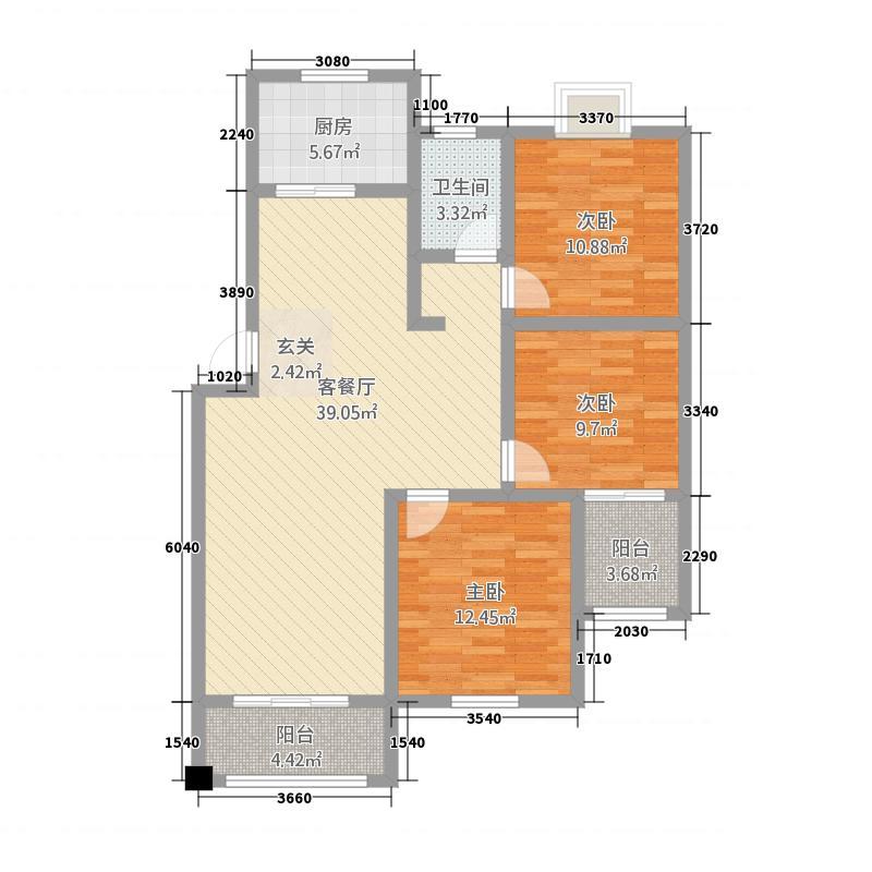 金地国际城128.30㎡E户型3室2厅1卫
