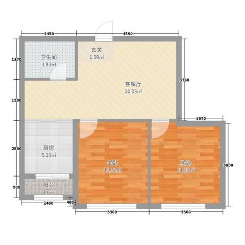宗裕.悦府鑫城2室1厅1卫1厨78.00㎡户型图