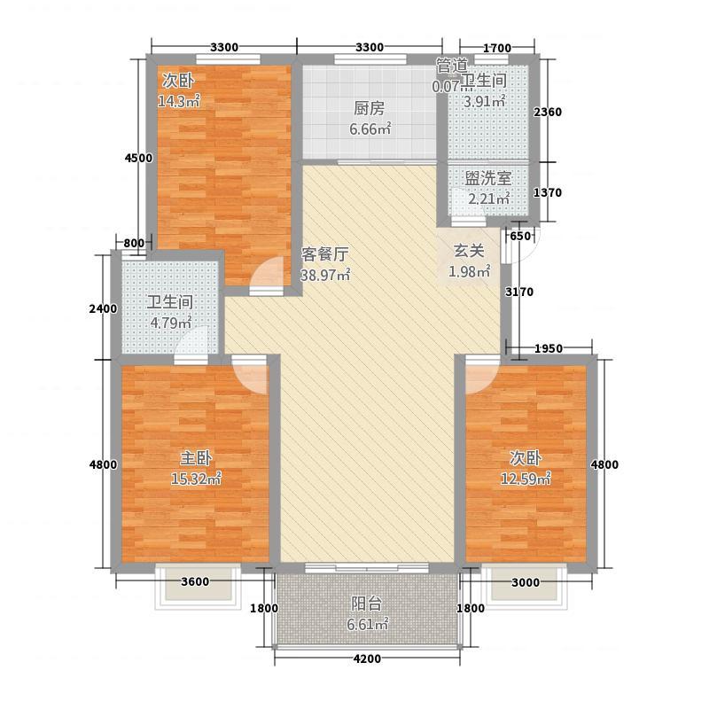 天元棠樾湖居138.61㎡A8标准层户型3室2厅2卫1厨