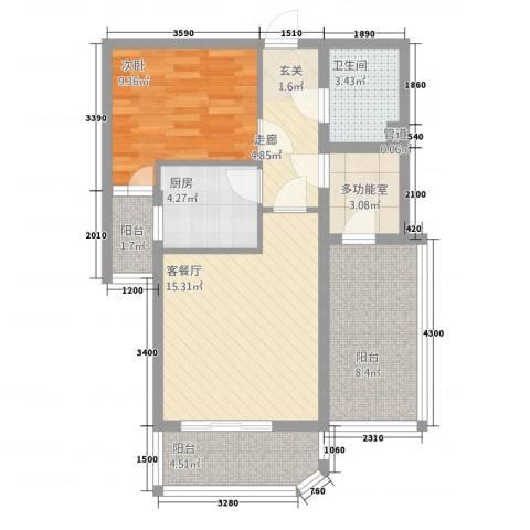 时尚街区东区1室1厅1卫1厨70.00㎡户型图