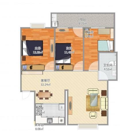 丽都花园3室1厅1卫1厨114.00㎡户型图