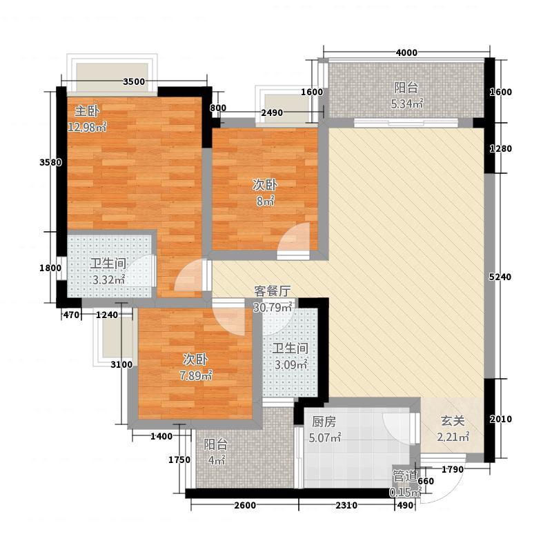东方家园132.00㎡户型3室