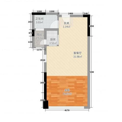 招商城市主场1厅1卫1厨54.00㎡户型图