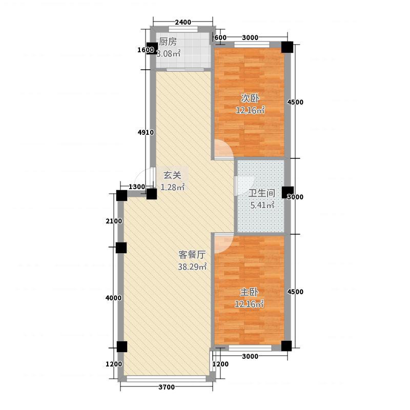 东方花园8.88㎡8988户型2室2厅1卫1厨
