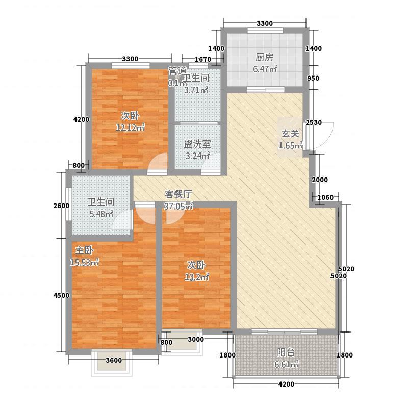 天元棠樾湖居133.60㎡A3标准层户型3室2厅2卫1厨