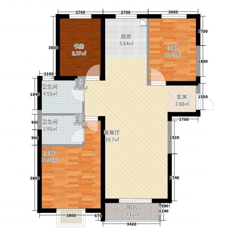 锦绣园41212.20㎡-A户型3室2厅2卫1厨
