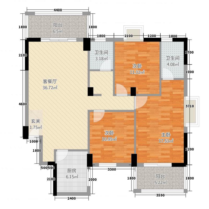 红光银都・智慧城124.80㎡A户型3室2厅2卫1厨