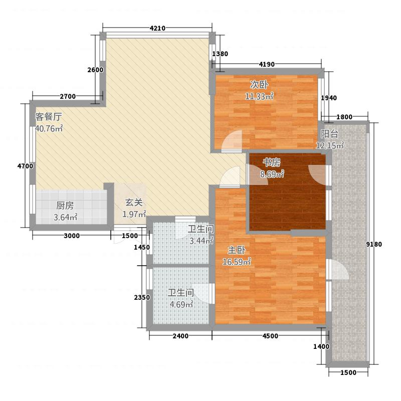 世豪绿洲花苑1423142.25㎡3s2t2w户型3室2厅2卫