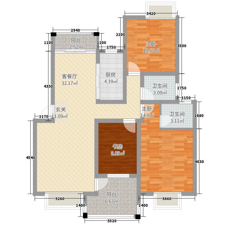 格林公馆124.00㎡3D2户型2室2厅2卫1厨