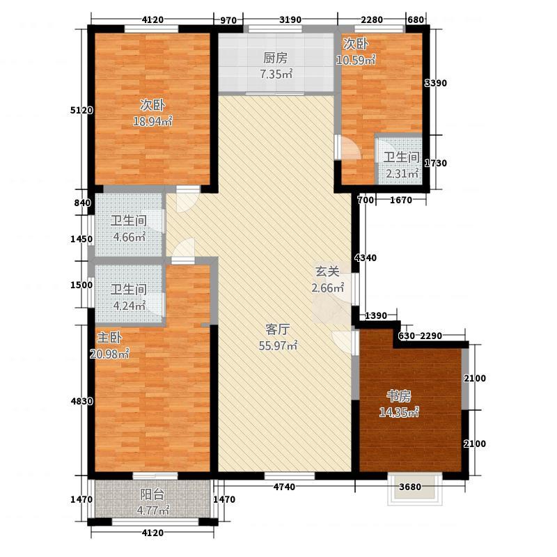 清华园G_副本户型4室2厅3卫1厨