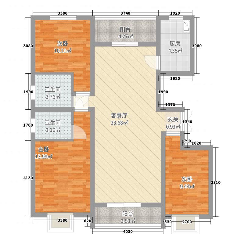 骏达・西湖家园125.00㎡西湖家园3户型3室2厅2卫1厨