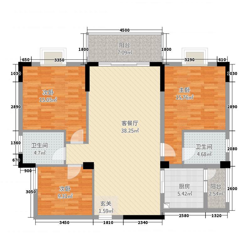 富华城123.00㎡户型3室2厅2卫1厨