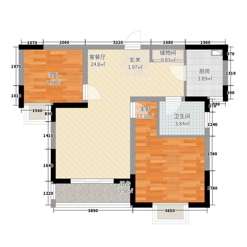 百合苑2284.81㎡D户型2室2厅2卫2厨