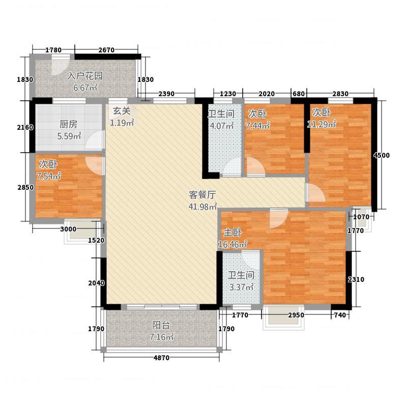 时代名苑121.74㎡F栋/G栋01单位户型4室2厅2卫1厨