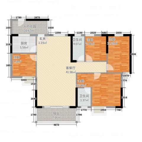时代名苑4室1厅2卫1厨122.00㎡户型图