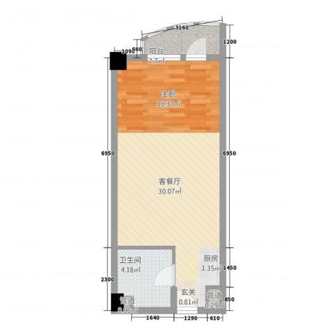 新世纪广场1厅1卫0厨57.00㎡户型图