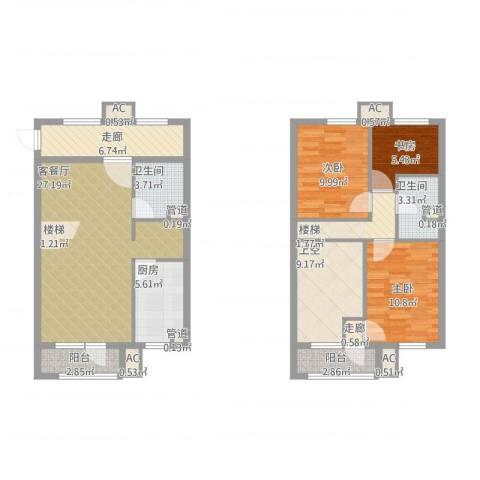 亿科公元20103室1厅2卫1厨138.00㎡户型图