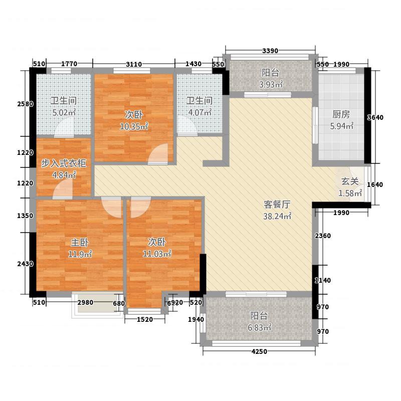 普罗旺世143.30㎡B1户型3室2厅2卫