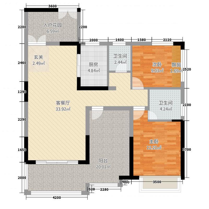 东城明珠15.00㎡户型2室2厅2卫1厨