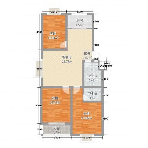 四季春城3室1厅2卫1厨85.08㎡户型图