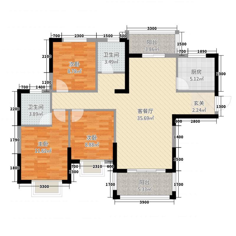 多伦・公园里11.00㎡G-1户型3室2厅2卫1厨