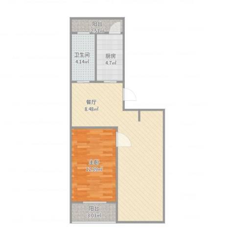 巨龙台湾城1室1厅1卫1厨74.00㎡户型图