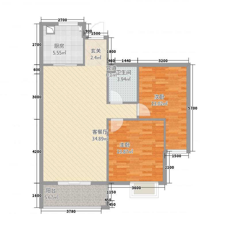 领秀城8.50㎡B户型2室2厅1卫1厨